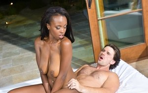 Nude black chick Jezabel Vessir rides her white bf before sucking his dick