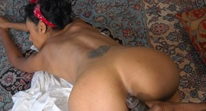 Naked black girlfriend Farah gets her black lover hard before doggystyle sex