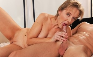 Horny granny Meryl Strip greets her paid for boy toy for an afternoon of sex