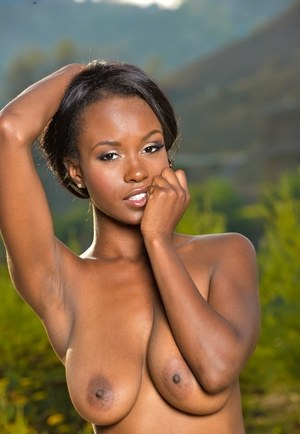 Hot black model Jezabel Vessir is all tease in taking off her bra and panties