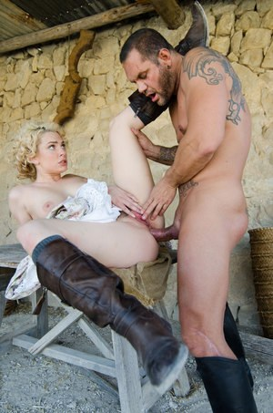 Blonde pornstar Dahlia Sky gets into rough sex wearing leather boots