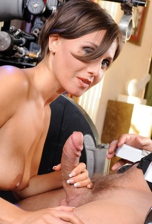 Short haired older MILF Silvia Bianco sucks on a cock like a pornstar would