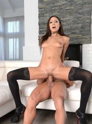 Thin female Cassie bangs her guy wearing black stockings and high heels