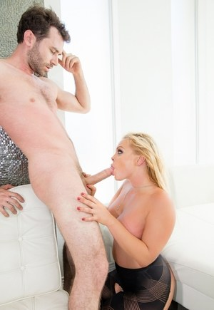 Chubby blonde slut Jesse gets fucked hard wearing crotchless pantyhose