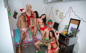 Eden Sinclair and her dorm mates get dressed up for an Xmas themed orgy