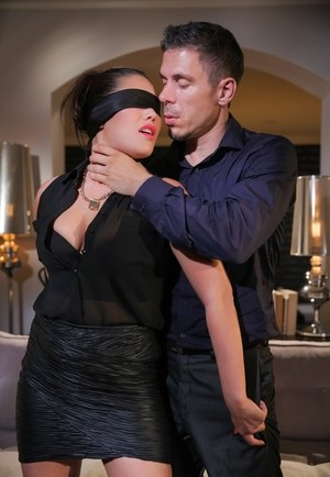 Asian female London Keys is blindfolded before having kinky sex with husband
