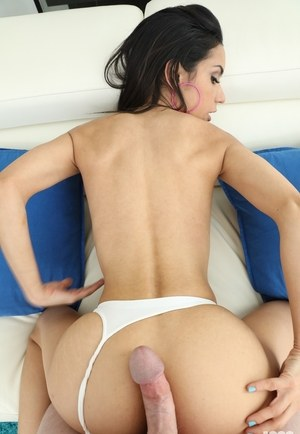 Dark haired female Tia Cyrus does a big cock from start to finish in POV mode