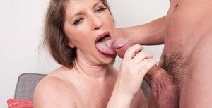 Older lady Kandi Jones sucks her boarders dick after he can't pay the rent