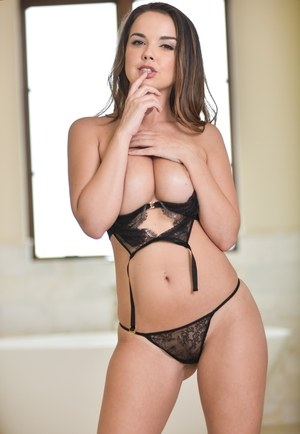 Petite solo girl Dillion Harper releases her perfect tits from sexy lingerie