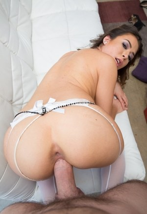 Petite Latina chick Melissa Moore blows cum bubbles before swallowing