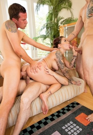 Inked pornstar Karmen Karma does a filthy double anal fuck during a gangbnag