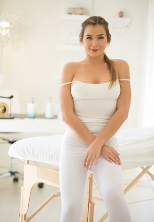 Beautiful solo girl Blair Williams peels off her white blouse and yoga pants