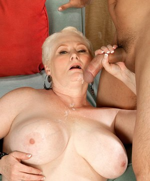 Short haired granny Miriam Harding does it all with her Latino gigol