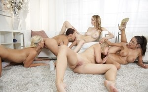 Clothed females suddenly decide that a lesbian orgy would be a grand idea