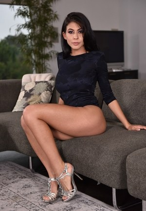 Dark haired female Heather Vahn has the perfect ass to match those great legs
