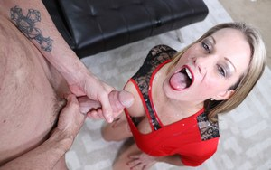 Older blonde lady Allura Skye gets a mouthful of jizz via a CFNM handjob