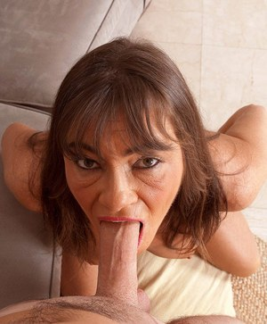 Older woman Raven provides the neighbour's boy with his daily blowjob