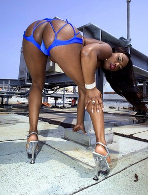 Black MILF Jada Fire works her big booty free of revealing bikini on a rooftop