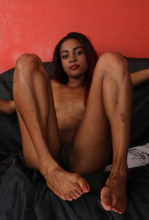 Petite black girl with red hair exposes her pink pussy for the first time