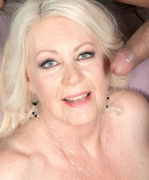 Overweight granny Angelique DuBois seduces a younger man with her big tits out