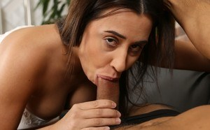 Brunette chick Chanel Lux sneaks up on her guy and gives him a blowjob