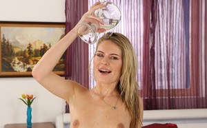 Kinky female Claudia Macc pours her own pee on herself after masturbating