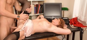 Hot granny Demi La Rue introduces a young boy to the joys of anal sex