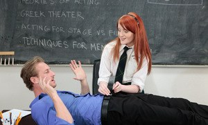 Redhead teen Krystal Orchid seduces her teacher wearing her schoolgirl clothes