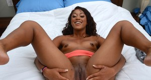 Hot black girl Ashley Sin shows off her exposed pussy for the first time