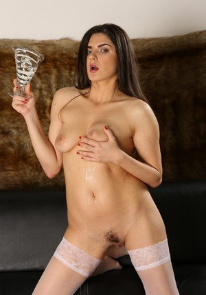 Sexy brunette Francesca DiCaprio drinks her own pee after pissing into a vase