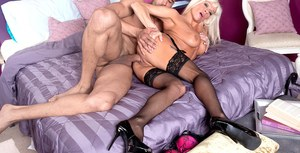 Hot aged lady Farrah Rose fucks a young guy like he's never been fucked before