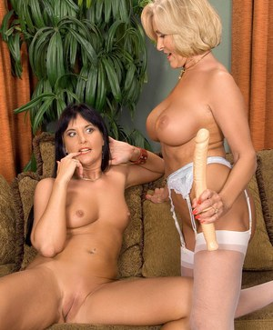Older woman Katia and her lesbian lover pleasure each other with big sex toys