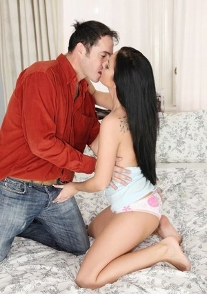 Raven haired chick Tara Tattoo seduces her guy in his apartment