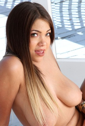 Amateur Latina female Cassidy Banks hikes her skirt to bare her damp vagina
