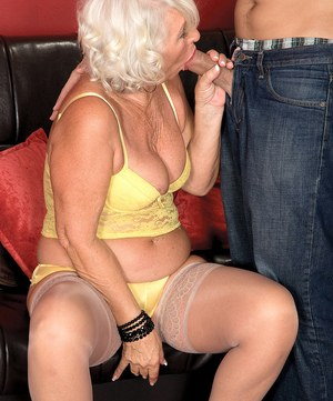 Granny Jeannie Lou sucks off her younger Latin lover in hose and heels