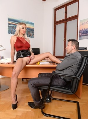 Hot blonde Lara Onyx does a hard DP inside her office with male subordinates