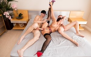 Female sex slave Rachel Starr gets used by 2 men with big cocks