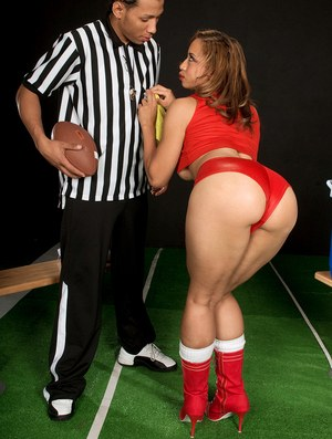 Brown skinned female Aurora Jolie bares her juicy ass before fucking a referee