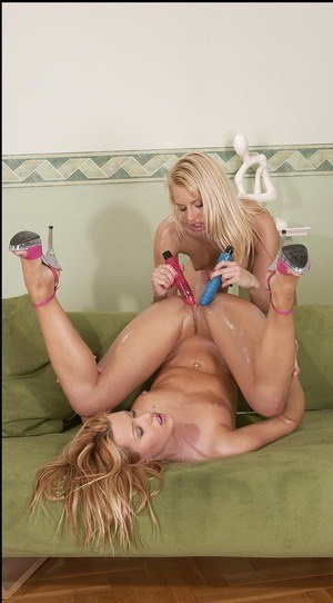 Naked lesbians Sophie Moone & Stella Hot sticks toys in twats and buttholes