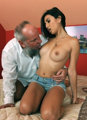 Latina girl Frida Sante gets involved in a hard fuck with a really old man