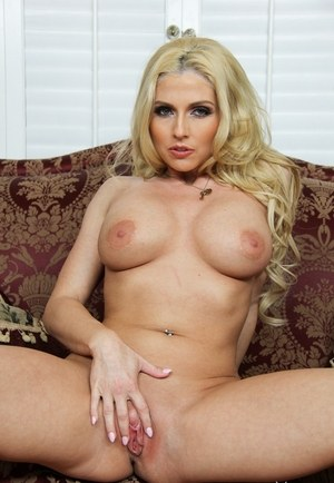 Blonde housewife Christie Stevens strips off her short dress and underthings