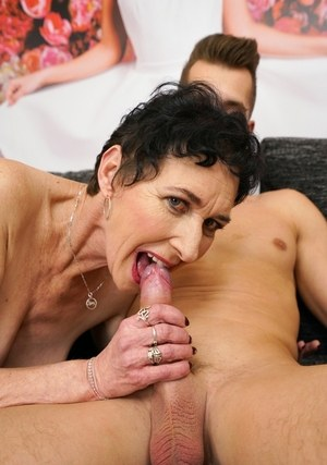 Old woman Pixie sucks the jizz right out of a young boy's cock