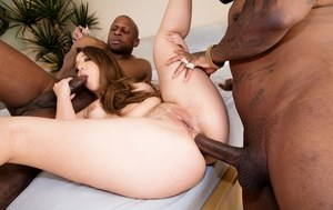 Pornstar Remy Lacroix does a DP with two black guys with large cocks