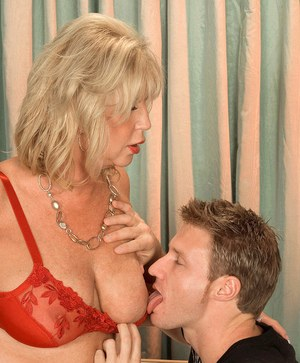Blonde cougar Anneke Nordstrum likes a young man's hard cock in her asshole