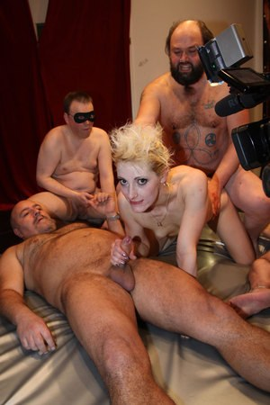 Tattooed blondes Curly Ann & Jil Thomson get banged in a wild group fuck