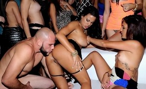 Nikki Chase and Luna Star headline a room filled orgy at a swing club