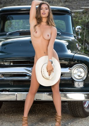 Centerfold model Gia Ramey-Gay wears only a cowgirl hat for Playboy shoot