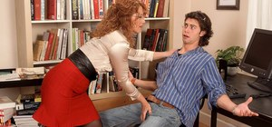 Older librarian with red hair seduces a student for anal sex in her office