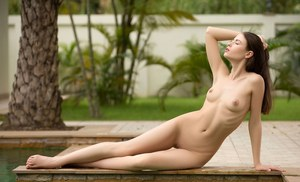 Beautiful brunette girl Hilary C slips off her swimsuit to pose nude by a pool