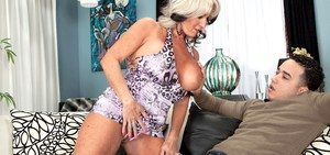 Busty grandmother Sally D'Angelo seduces and fucks the grandson next door